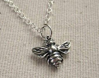 Little Bee Necklace Sterling Silver - Simple Nature Jewelry, Woodland Necklace