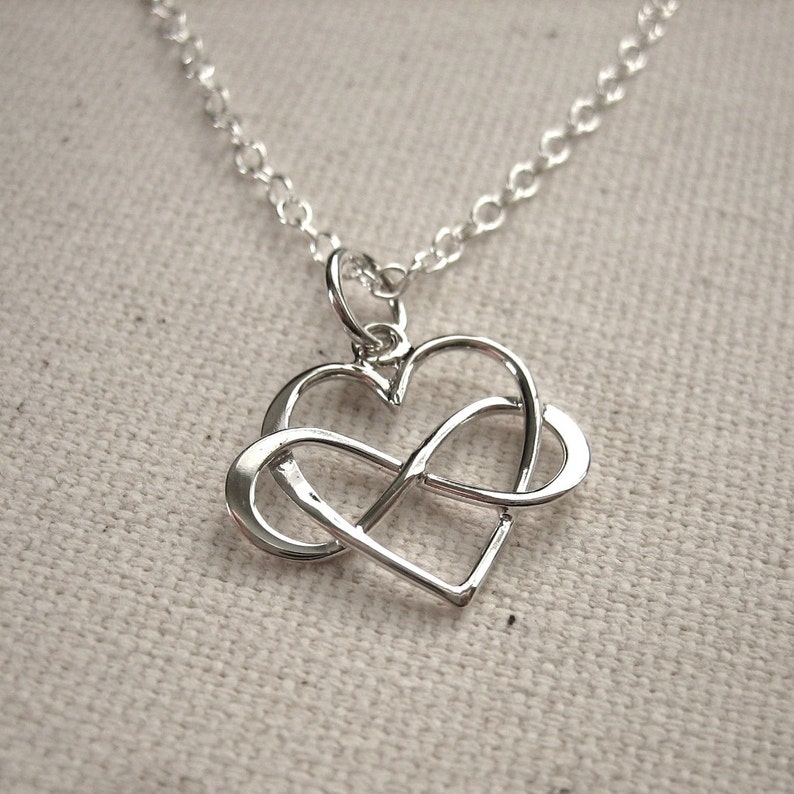 35aa0d01d0e81 Infinity Heart Necklace, Sterling Silver Infinity Heart Pendant - Eternal  Love Jewelry - Customize Personalize