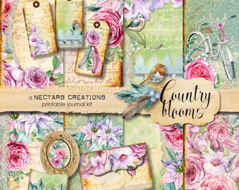 COUNTRY BLOOMS Floral Printable Junk Journal Kit. Bo-ho, vintage, for Scrapbooking, Journals, Card Making, Mixed Media craft, collage sheet