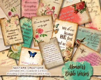 """MEMOIRS_BIBLE_VERSES Vintage Printable 2.5""""X3.5"""" ATC images collage sheet-scrapbooking, journals,cards,gifts,jewellery,labels, tags-BVK001"""