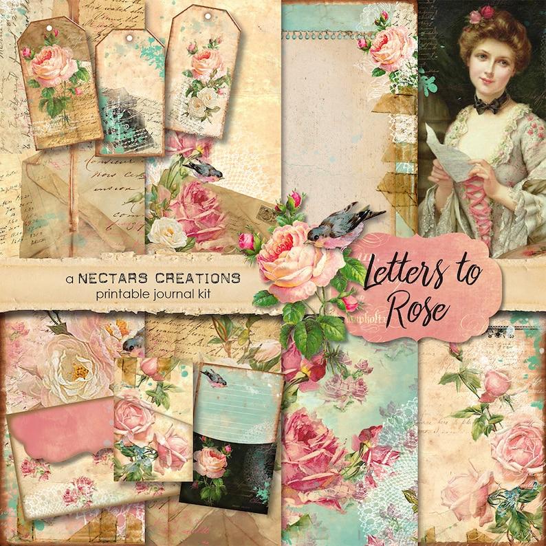 LETTERS TO ROSE Vintage Printable Junk Journal Kit. Vintage image 0
