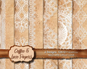 COFFEE & LACE 12X12 Paper Set. Vintage coffee stained distressed paper and lace, for Scrapbooking, Journals, Cards or Mixed Media craft