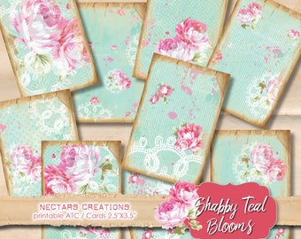 """SHABBY_TEAL_ BLOOMS Vintage Printable 2.5""""X3.5"""" ATC images collage sheet-scrapbooking, journals, cards, gifts, jewellery, labels, tags-BG001"""