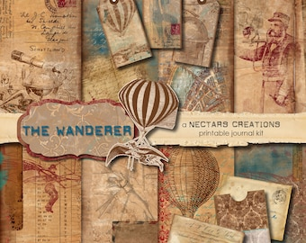 THE WANDERER Vintage Printable Junk Journal Kit. Antique masculine style, use for Scrapbooking, Journals, Card Making or Mixed Media craft