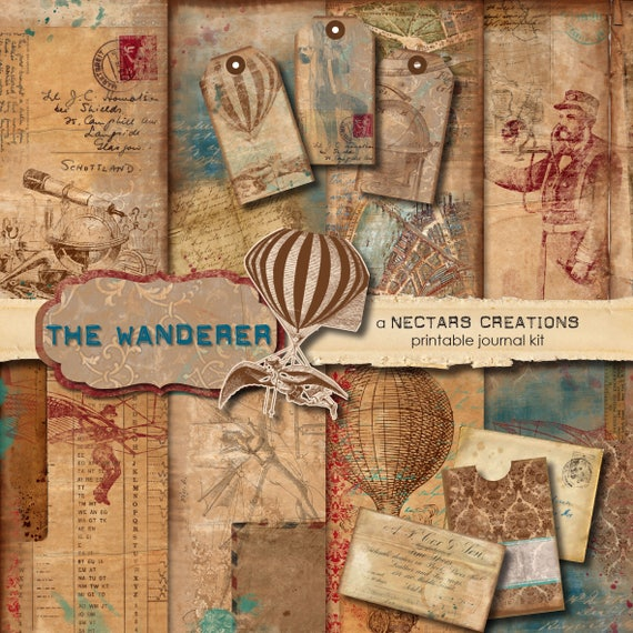 THE WANDERER Vintage Printable Junk Journal Kit