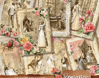 """ROMANCE lace, VALENTINES roses Vintage Printable 5X7"""" ATC collage sheet, ephemera pack, printable journal spots and tags, digital download"""