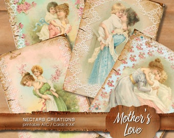 MOTHER'S LOVE Vintage Printable 6X4 inch ATC images collage sheet - scrapbooking, journals, cards, gifts, jewellery, labels-instant download