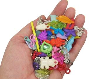 100 Blue random sea themed acrylic charms