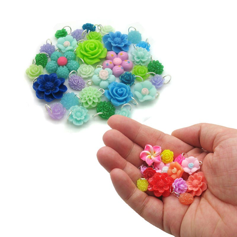 Multi coloured Rainbow Mix Resin Flatback Craft Flowers Roses Choose Colour Mix