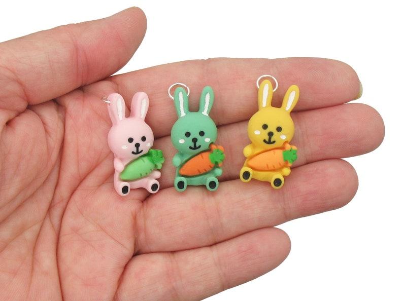 Cute Rabbit Charms DIY Charm Bracelet Supplies 8 pc Kawaii Easter Bunny Resin Cabochons
