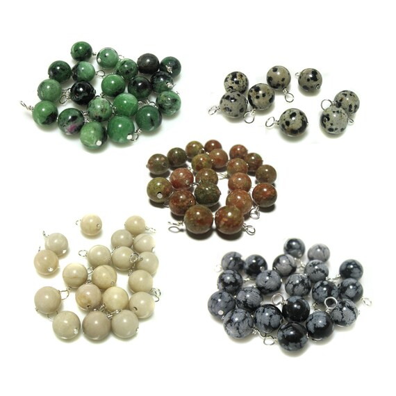 30pcs-Hand wrapped dangle charms-1 loop Aquamarine gemstone beads