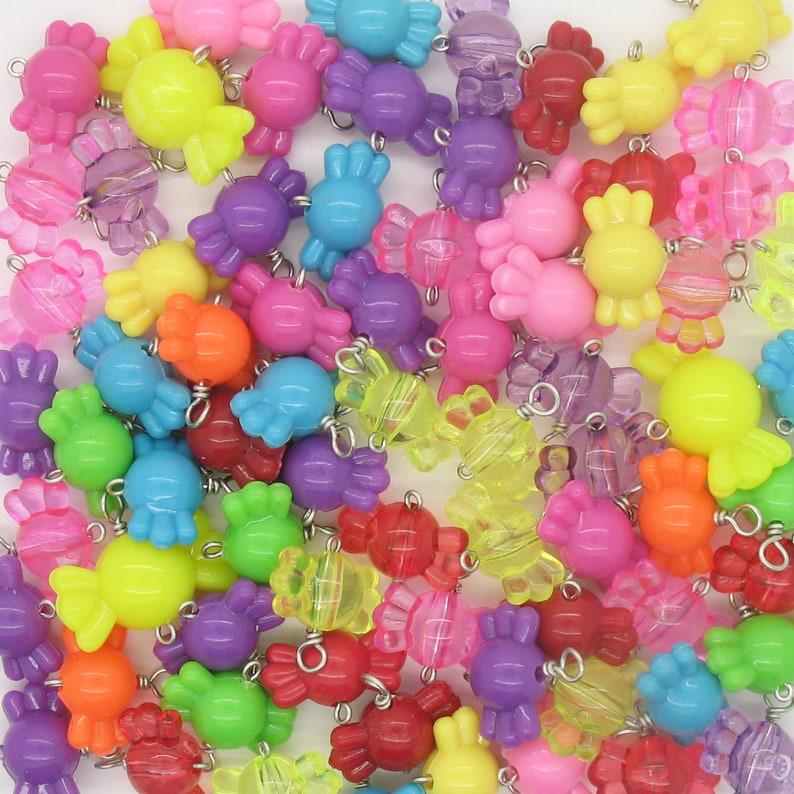 Kawaii Candy Charms Bright Gumball Charms Sweets Food Hard Candy Bracelet Charms Cute Rainbow Kandi Bracelet Dangles