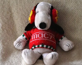 "SNOOPY, Plush, from Peanuts.  MACY'S on Sweater & Big Red EARMUFFS. 19"", Woodstock on his earmuffs. Perfect for Christmas."