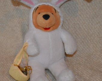 """Pooh  Easter Bunny, Plush, holding Easter Basket with Jellybeans, Walt Disney Co., ear to foot 21"""", All white, fuzzy, with Pink Ears."""
