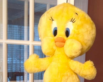 "TWEETY BIRD, HUGE. ( 29"" )...Warner Bros. Studio Shop,..Yellow with Orange Feet. Plush.. Mint, displayed ."
