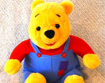 "WINNIE The POOH ,Talks and WIGGLES his Nose says: Honey..Hello Friends & More. Overalls with Patches..14""..Mint..   ( I have three !)"