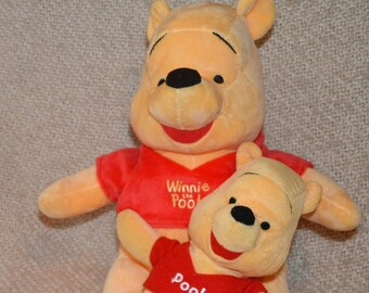 "WINNIE The POOH ( 2 ) 14"" & 10""..DISNEY, Both  New wo tags,  Pooh Red Shirts.. Great Christmas Gift !"