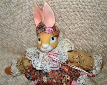 Wendy RABBIT, HOUSE of LLOYD, Soft Body, Porcelain Bisque Head, Lace Collar & Trim, Flowered Dress wit Roses, Ribbons, Collectable, Like New