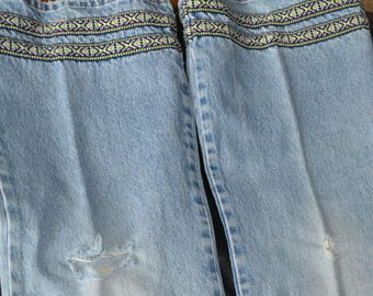 """70s JEANS Vintage BELLBOTTOMS.""""MOE Clothing Co.""""Size 11, I call them """"Holy Moly"""" Not new machine made holes, but lovingly worn & made by me"""