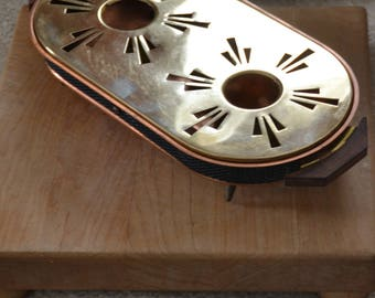 HOT PLATE WARMER Copper & Brass, Ex Cond ,2 Tea Lights.. Made in W. Germany,Vintage 70s..Cut Star/Dot Design..Filigree surround..