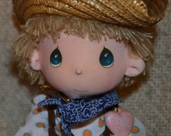"PRECIOUS MOMENT'S Doll.. "" Mickey ""  Vintage 1985.."" COWBOY ."" Heart Drop says: "" Praisin the Lord..Displayed Only. 15"" tall."