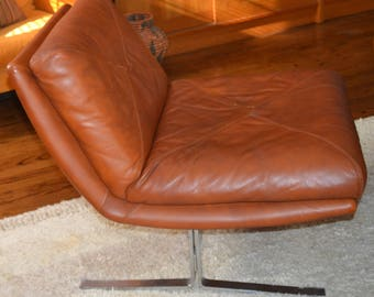 2 Mid century Modern Vintage 60s ( 2 ) ITALIAN LEATHER  with CHROME Base (Barcelona Style) Chairs. Coffee Brown .Mint