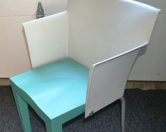 "ITALIAN "" Accent "" CHAIR seen in Brooklyn Museum.. Super GLOB, Kartell, Plastic Metal, 1991, Turquoise & White, Metal Back Legs."