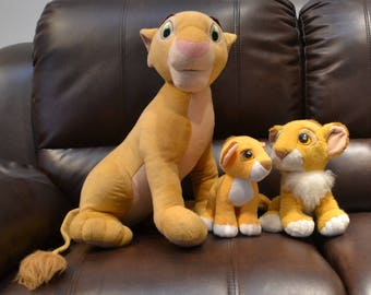 "LION KING AUTHENTIC..1993 Vintage.. (Three in all) Nalla 22 1/2"", Very Lg...Baby Nala,, 8 1/2"". Baby Simba 9 1/2"" Excellent Cond"