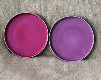 "BLOCK CHROMATICS CHINA..Two Luncheon Plates..approx. 8"" diam.Gorgeous Purple , Pink.Darker Purple Rims. Germany, Discontinued, Vintage  70s"