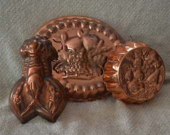 COPPER Antique MOLDS... Large..1)  Fruit in Basket, 1)  Lobster, 1)  Random Fruit.. Great to Use or Display..Old Fashioned Charm .