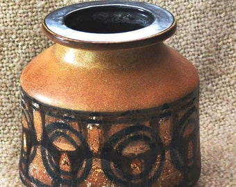 "LAPID iSRAEL POTTERY by Sarah Mid Century Modern 60s,  7 1/2"" high, Stoneware,Perfect Hanukkah Gift, Rustic, Hand Painted."