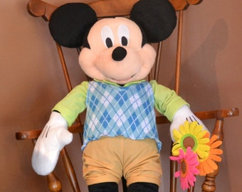 "MICKEY MOUSE, He STANDS & Holds Flowers. Stands 26"" Tall.  Disney Tag. Great Condition, Collectable."
