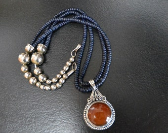 Agate, Great CHRISMAS Gift, Native American,Handmade, Pendant,, 925 silver, navy blue beads.