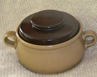 "Covered CASSEROLE"" HEARTHSTONE"" STONEWARE, Tan Base with Brown Cover, Vintage 70s, Handpainted, Oven,Dishwasher, Fade Proof,  Holds 2 Qts."
