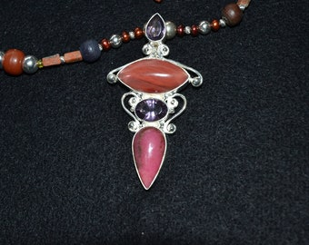 Amethyst, Cherry Quartz, Pendant Necklace,Handmade, Silver,Red, Purple and Sterling Beads.