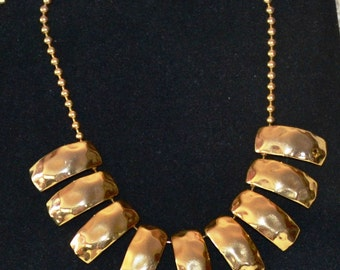 GOLD TONE NECKLACE, 9 Shiny gorgeous hanging pieces make this vintage necklace so special. Perfect Christmas Gift for the jewelry lover.