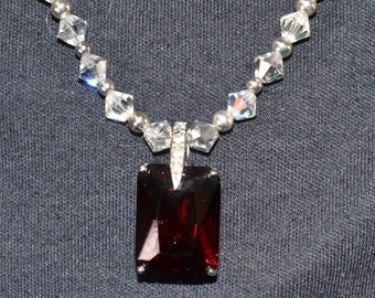 GARNET RED PENDANT, Swarovski Crystal with large and small red and crystal ball Bead Necklace, Silver Openwork Setting