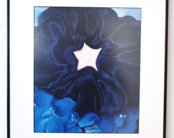 GEORGIA O'KEEFE Black hollhock, Blue Laskpur, VINTAGE Print, Framed, non glare glass American Artist