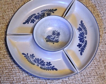 "PFALZGRAFF YORKTOWNE Pattern.  Lazy Susan with 3 Sections & Center Bowl, 14"" Diam. Stoneware Very Good VINT Condition. Use Together/Separate"