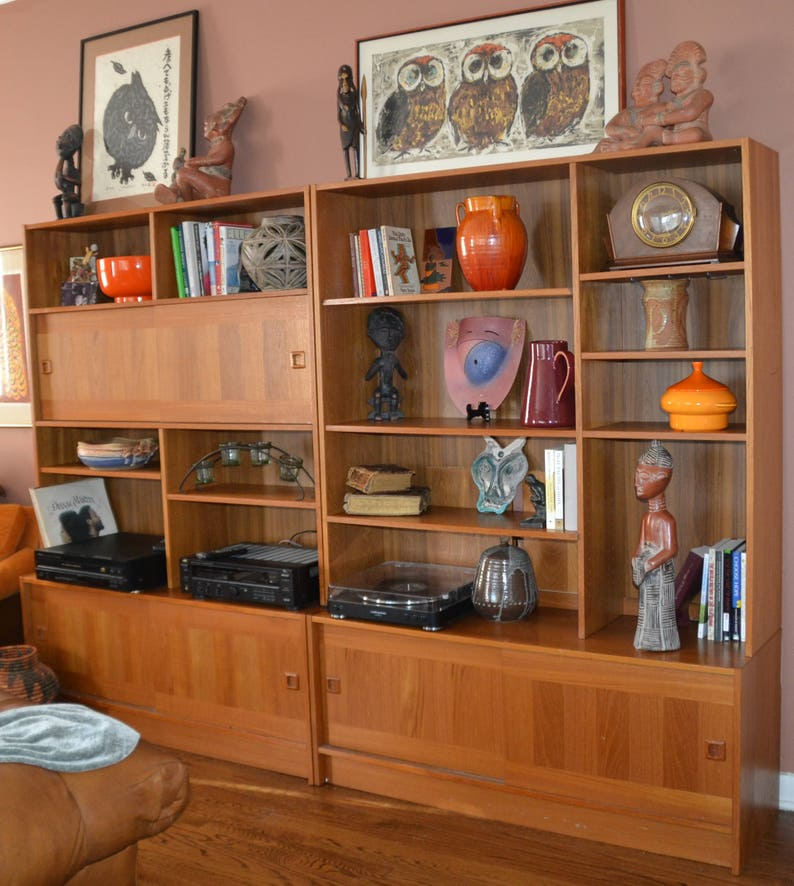 4fc62e611 TEAK Wall Unit DOMINO Mobler DENMARK...Mid Century 60s..2 sliding door  cabinets on bottom, 1 on top, Many shelves & Display areas,2 Units