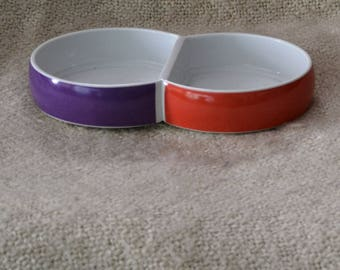 BLOCK CHROMATICS CHINA.. Double Divided Serving Dish, Discontinued, 70s, Rare, Ex. Cond...Purple / Orange..White inside.. For Veggies, Snax