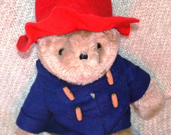 """PADDINGTON BEAR, Meas.141/2"""", VINTAGE 1975-81, Authentic outfit, Big Glassy Eyes, Blk.Fuzzy Ears, Brown Padded Feet"""