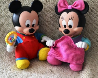 Baby MICKEY, Baby MINNIE, Two Vintage DISNEY'S. Move Switch & B. Mickey Moves,Shakes his Rattle. B.and Minnie Moves, Pulls Up Blanky .
