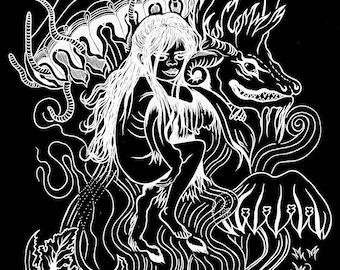 TSHIRT Astral Flight to the Witches Sabbath (white print on black unisex short sleeve shirt)