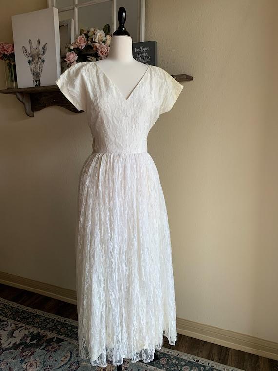 Vintage 1950's White Lace Dress