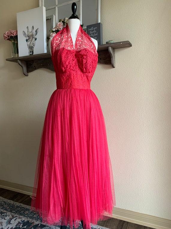 Vintage Cranberry Halter Dress