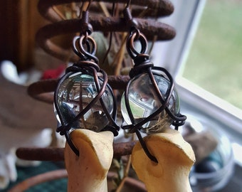 Deer toe bone and glass crystal orb earrings