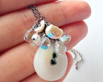 wire wrapped pendant white Quartz Solar ,Necklace white quartz Solar ,Cluster Necklace quartz fire rainbow, gemstone pendant ~ quartz mystic