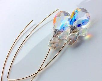 Wire wrapped earrings Quartz Fire Rainbow , Earrings wire wrapped in 14k gold fill,  long dangle earrings sterling silver , gift for her