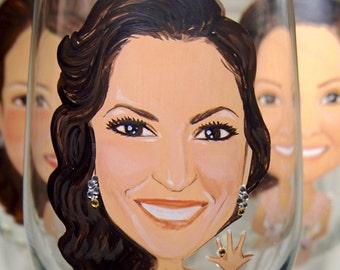 Set of 5 Bridesmaids Caricature Wine Glasses